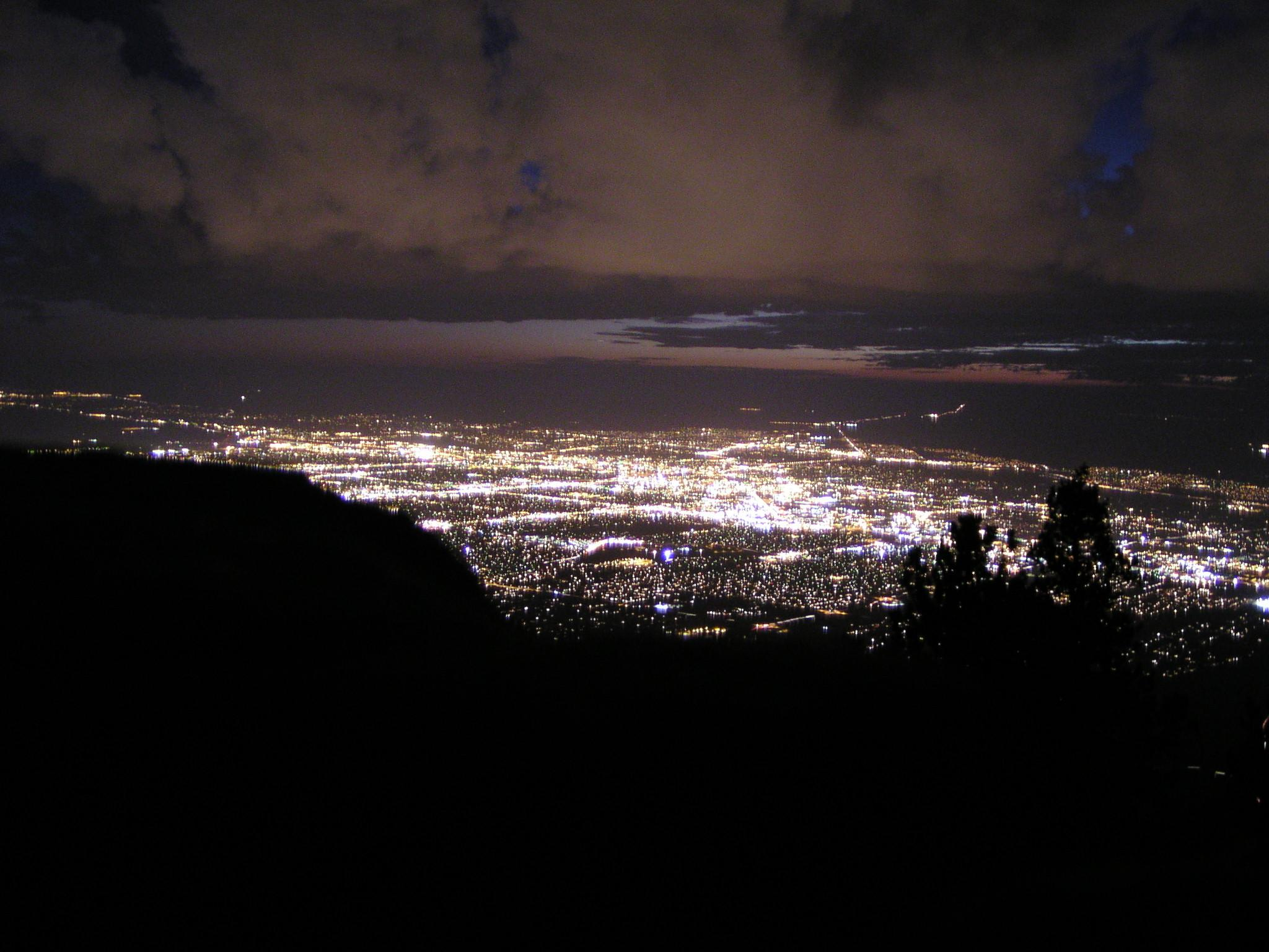 Using the flash to get the nearby tree but the long exposure to get the city lights and clouds. [2048x1536] & Sandia Peak Albuquerque New Mexico - November 1 2003 azcodes.com