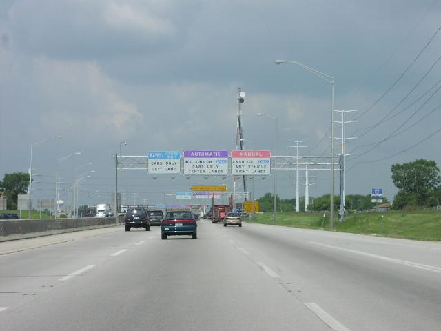 picture: Toll booth on the Illinois Northwest Tollway (I-90). The toll ...